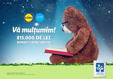 Lidl donează, cu sprijinul clienților săi, 815.000 de lei către UNICEF
