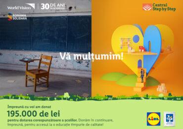 Modernizarea școlilor din România. LIDL donează 195.000 lei către World Vision și anunță o nouă campanie de strângere de fonduri, pentru Centrul Step by Step