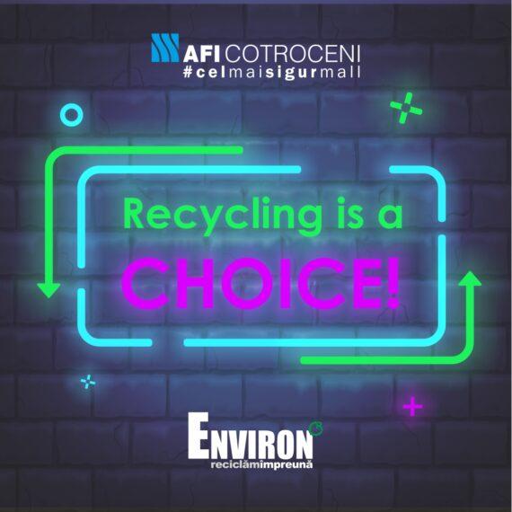 """AFI Cotroceni va găzdui expoziția ,,Recycling is a choice! Tu alegi cum vrei să fie!"""" organizată de Asociația Environ"""