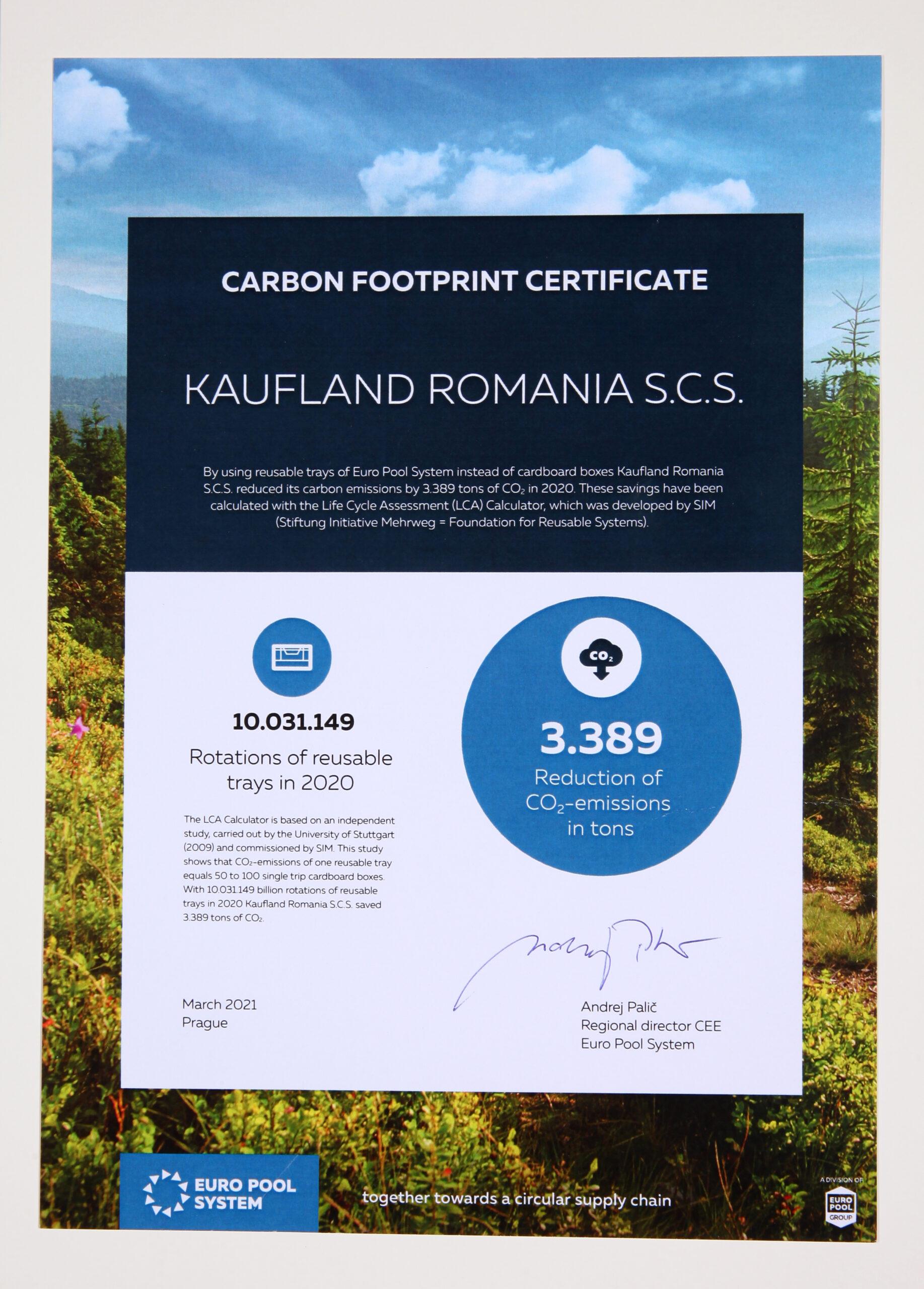 Kaufland România primește certificatul pentru reducerea amprentei de carbon din partea Euro Pool System