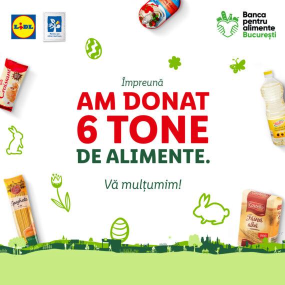 Clienții Lidl au donat peste 31 de tone de produse alimentare pentru comunitățile vulnerabile, în cadrul campaniei organizate în preajma Paștelui împreună cu rețeaua națională a Băncilor pentru Alimente