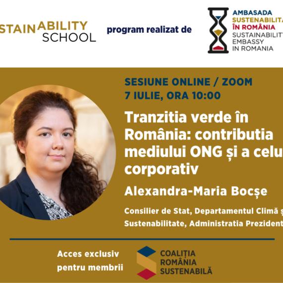 Sustainability School #7: Tranzitia verde in Romania – contributia mediului ONG si a celui corporativ