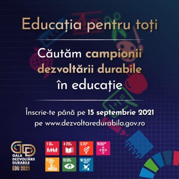 Departamentul pentru Dezvoltare Durabilă caută campioni la dezvoltare durabilă în domeniul educației