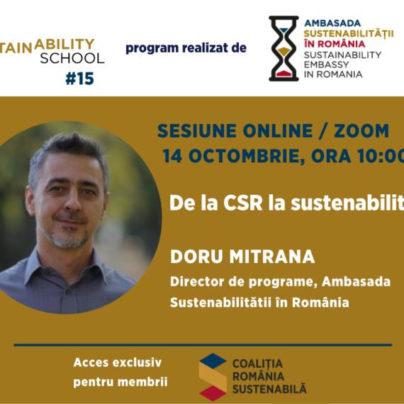 Sustainability School #15: De la CSR la Sustenabilitate