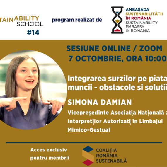 Sustainability School #14: Integrarea surzilor pe piata muncii – obstacole si solutii